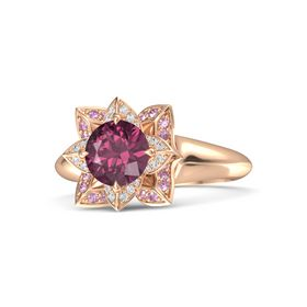 Round Rhodolite Garnet 14K Rose Gold Ring with White Sapphire and Pink Sapphire