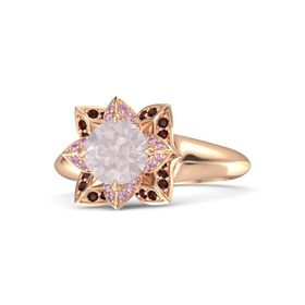 Round Rose Quartz 14K Rose Gold Ring with Pink Sapphire and Red Garnet