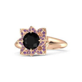 Round Black Onyx 14K Rose Gold Ring with Amethyst