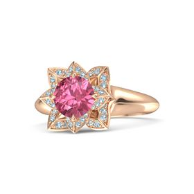 Round Pink Tourmaline 14K Rose Gold Ring with Aquamarine