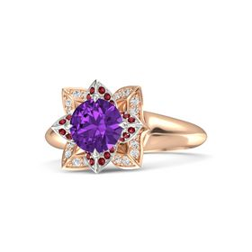 Round Amethyst 14K Rose Gold Ring with Ruby and White Sapphire