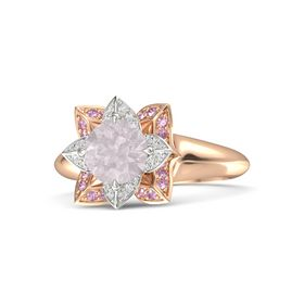Round Rose Quartz 14K Rose Gold Ring with White Sapphire and Pink Sapphire
