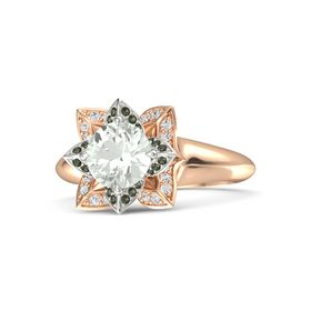 Round Green Amethyst 14K Rose Gold Ring with Green Tourmaline and White Sapphire