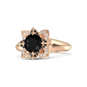 Round Black Onyx 14K Rose Gold Ring with Black Diamond and White Sapphire