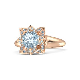 Round Aquamarine 14K Rose Gold Ring with Aquamarine and Blue Topaz