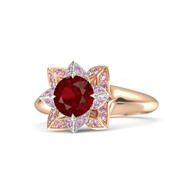 Round Ruby 14K Rose Gold Ring with Pink Sapphire