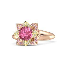 Round Pink Tourmaline 14K Rose Gold Ring with White Sapphire and Pink Sapphire