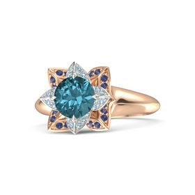 Round London Blue Topaz 14K Rose Gold Ring with Aquamarine and Blue Sapphire