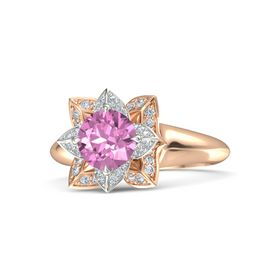 Round Pink Sapphire 14K Rose Gold Ring with Diamond