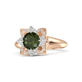 Round Green Tourmaline 14K Rose Gold Ring with White Sapphire