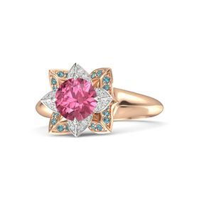 Round Pink Tourmaline 14K Rose Gold Ring with White Sapphire and London Blue Topaz