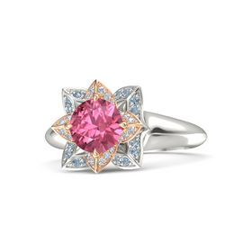 Round Pink Tourmaline 14K White Gold Ring with Diamond and Blue Topaz