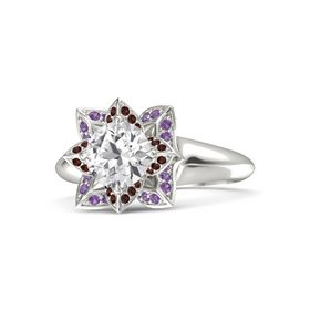 Round White Sapphire 14K White Gold Ring with Red Garnet and Amethyst