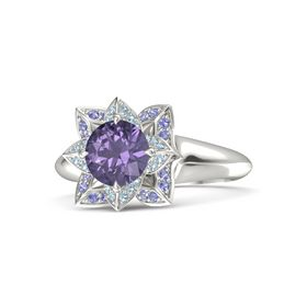 Round Iolite 14K White Gold Ring with Aquamarine and Iolite
