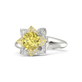 Round Yellow Sapphire 14K White Gold Ring with White Sapphire