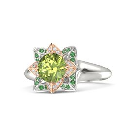 Round Peridot 14K White Gold Ring with White Sapphire and Emerald