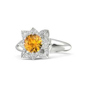 Round Citrine 14K White Gold Ring with White Sapphire