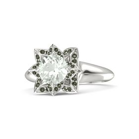 Round Green Amethyst 14K White Gold Ring with Green Tourmaline