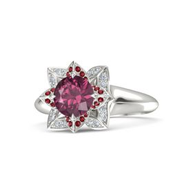 Round Rhodolite Garnet 14K White Gold Ring with Ruby and Diamond