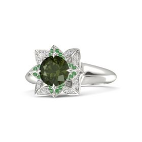 Round Green Tourmaline 14K White Gold Ring with Emerald and White Sapphire