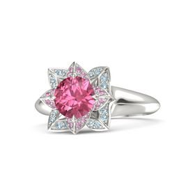 Round Pink Tourmaline 14K White Gold Ring with Pink Sapphire and Aquamarine