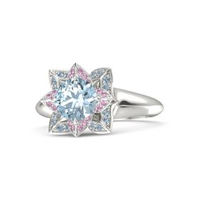 Round Aquamarine 14K White Gold Ring with Pink Sapphire and Blue Topaz