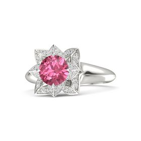 Round Pink Tourmaline 14K White Gold Ring with White Sapphire