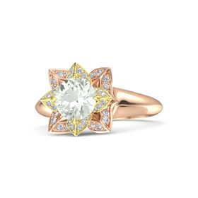 Round Green Amethyst 18K Rose Gold Ring with Diamond