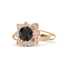Round Black Diamond 18K Rose Gold Ring with Diamond