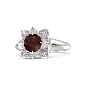 Round Red Garnet 18K White Gold Ring with White Sapphire and Pink Sapphire