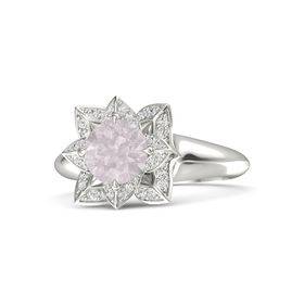 Round Rose Quartz 18K White Gold Ring with White Sapphire