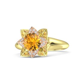 Round Citrine 18K Yellow Gold Ring with White Sapphire and Citrine