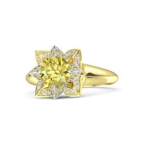 Round Yellow Sapphire 18K Yellow Gold Ring with Yellow Sapphire and White Sapphire