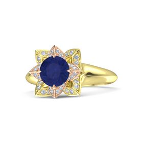 Round Blue Sapphire 18K Yellow Gold Ring with Diamond