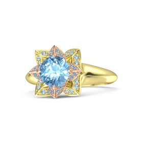 Round Blue Topaz 18K Yellow Gold Ring with Blue Topaz and Aquamarine