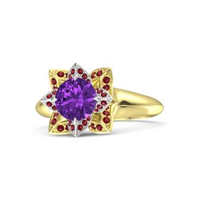 Round Amethyst 18K Yellow Gold Ring with Ruby
