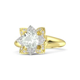 Round Green Amethyst 18K Yellow Gold Ring with White Sapphire