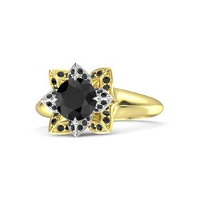 Round Black Diamond 18K Yellow Gold Ring with Black Diamond
