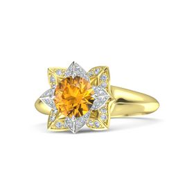 Round Citrine 18K Yellow Gold Ring with Diamond