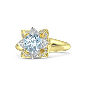 Round Aquamarine 18K Yellow Gold Ring with Diamond