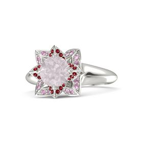 Round Rose Quartz Palladium Ring with Ruby and Pink Sapphire