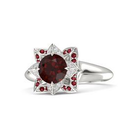 Round Red Garnet Palladium Ring with White Sapphire and Ruby