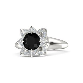 Round Black Onyx Palladium Ring with Diamond