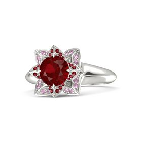 Round Ruby Palladium Ring with Ruby and Pink Sapphire