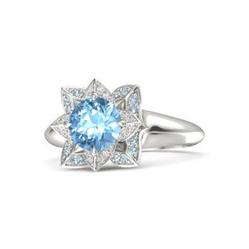 Round Blue Topaz Palladium Ring with White Sapphire and Aquamarine