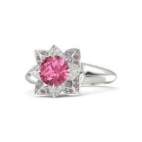 Round Pink Tourmaline Palladium Ring with White Sapphire and Rhodolite Garnet
