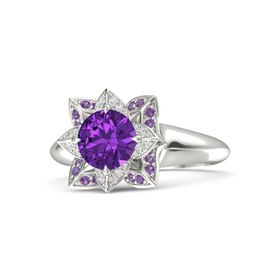 Round Amethyst Palladium Ring with White Sapphire and Amethyst