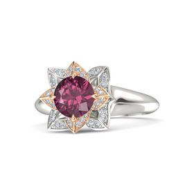 Round Rhodolite Garnet Platinum Ring with Diamond