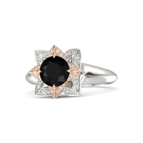 Round Black Onyx Platinum Ring with White Sapphire