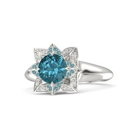 Round London Blue Topaz Platinum Ring with London Blue Topaz and White Sapphire